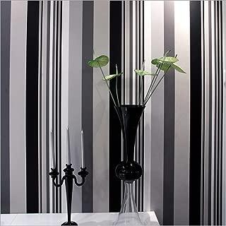 QIHANG Black&White&Gray Multicolor Vertical Stripes Wallpaper Roll Textured Wallpaper 1.73' W x 32.8' L = 57 sq.ft