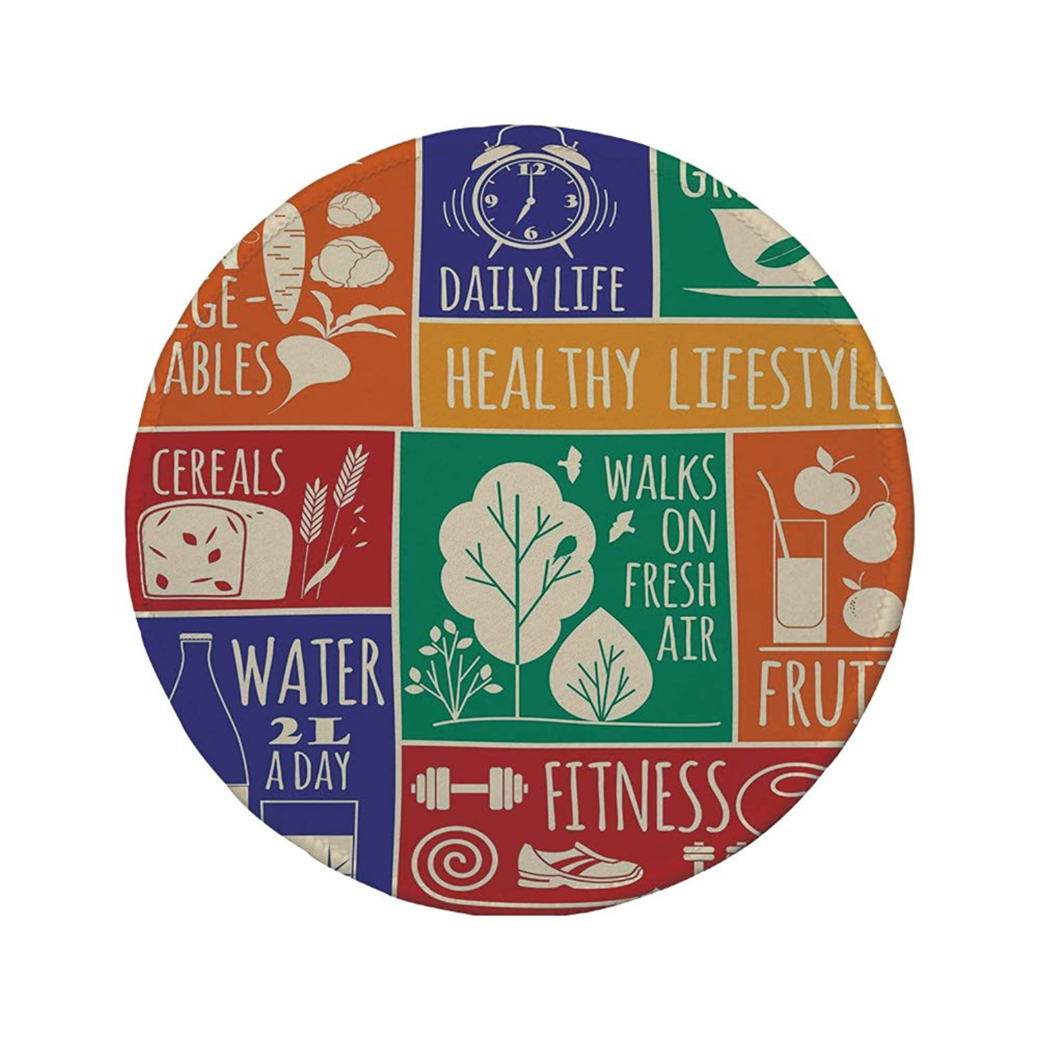 Non-Slip Rubber Round Mouse Pad,Fitness,Collage of Different Colorful Frames with Motivational Signs Vegetables Exercise Decorative,Multicolor,11.8