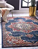 Unique Loom Utopia Collection Traditional Medallion Vintage Warm Tones Dark Blue Area Rug (4' 0 x 6' 0)