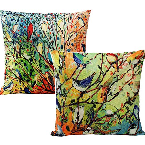 Unibedding 2 Pack Oil Painting Vivid Birds on Tree Decorative Throw Pillow Covers, Cotton Linen Square 18 x18'' Cushion Cover Case, Home Sofa Couch Decor