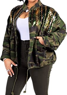 Sexyshine Women's Classic Casual Long Sleeve Camo Lightweight Zipper Outwear Short Jacket