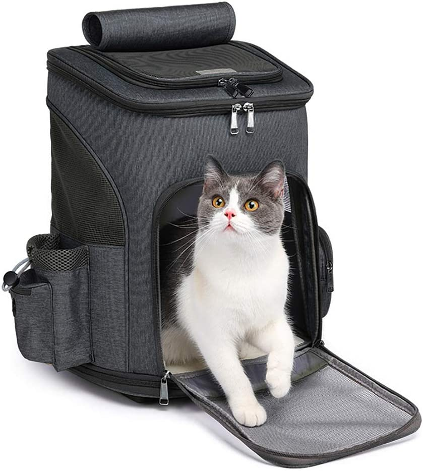 MOV COMPRA Wheeled Pet Carrier Backpack Pet Stroller, Travel Carrier, Car  Seat for Small Dogs Cats Puppies, Comfort Cat Backpack Removable Rolling ...