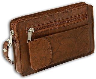 DrachenLeder OTJ502C - Bolso de mano de piel para hombre, color marrón