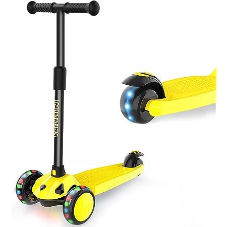 IMMEK Patinete Niños 3 Grandes Ruedas Scooter para 2 a 8 Años Niño y Niña, Ajustable Altura con Tres LED Luces Ruedas Carga Máxima 50 KG (Amarillo)