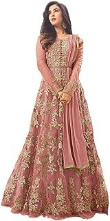 FIBREZA Women's Net Semi Stitched Anarkali Salwar Suit Gown