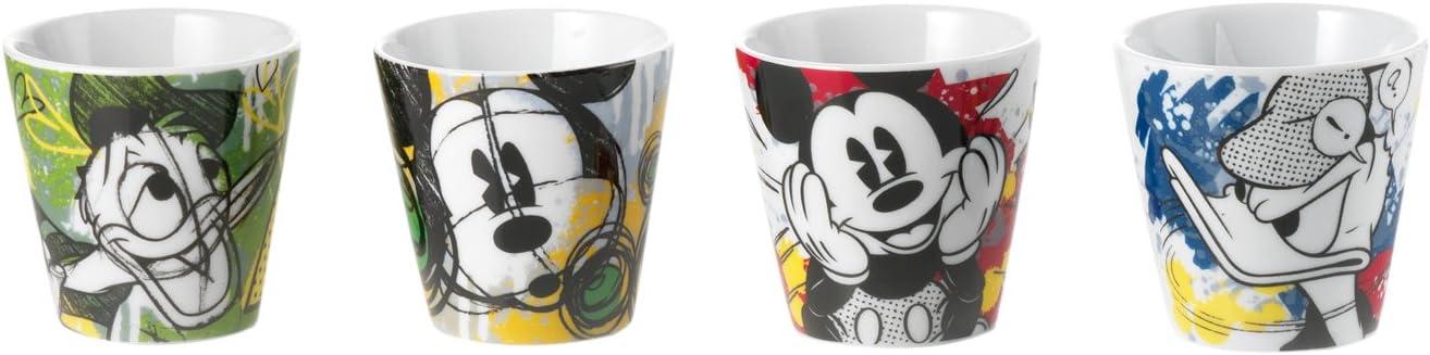 Disney, PWM83/4P - Juego de 4Vasos de café, con diseño de Mickey y Donald.