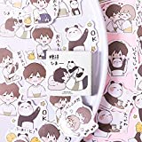 Kawaii Panda Boy Bullet Journal Papelería Decorativa Mini Caja Pegatinas Set Scrapbooking DIY Diary Album Stick Lable