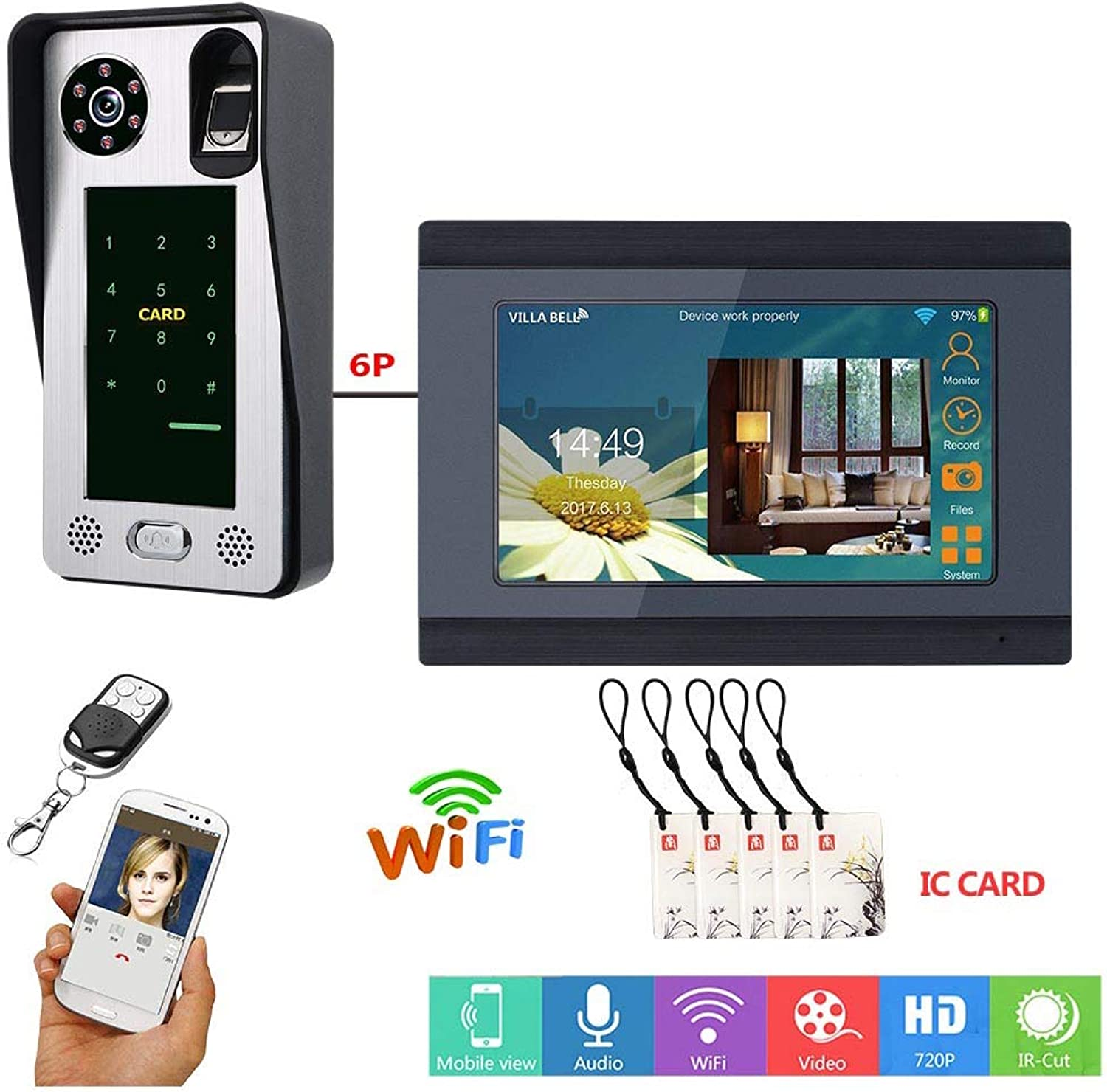 7 inch fingerprint IC card video phone doorbell, waterproof WIFI intercom system with access control system, support remote APP unlock recording snapshot