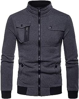 Sunward Men Zipper Pocket Splicing Pullover Long Sleeve Sweatshirt Tops Blouse