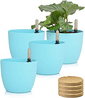 Sarosora 6`` Self Watering Planter Pots with Coco Soil for Home Garden Outdoor Indoor Office Modern Decorative Flower Pots for All House Plants Flowers Herbs Succulents (Blue)