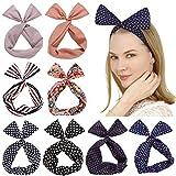 Sea Team Twist Bow verdrahtete Stirnbänder Schal wickeln Haar-Accessoire-Haarband (8 Packungen) (C)