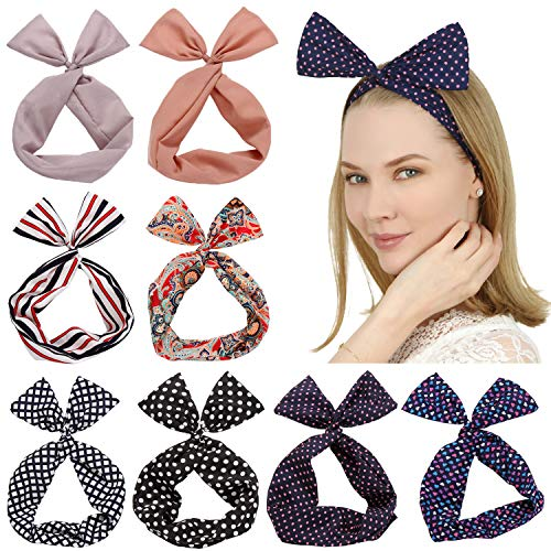 Sea Team Twist Arc Bandeaux Wired Band foulard Wrap Accessoire Hair Band (8 Packs) (C)