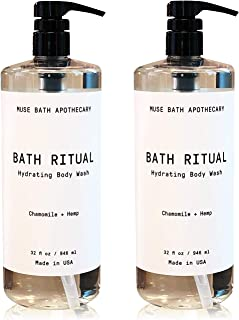 Muse Bath Apothecary Bath Ritual - Aromatic and Hydrating Body Wash, 32 oz, Infused with Natural Essential Oils - Chamomile + Hemp, 2 Pack