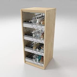 Liquor Store Countertop Mini Bottle Display Case for 50ml, Shelf Dividers Spring Pushers Holds 144 Bottles, Wood & Acrylic 13
