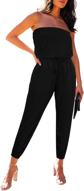 Fixmatti Women Tube Top Romper Strapless Bandeau Cold Shoulder Jumpsuit Outfits