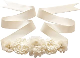 Maternity Sash Belt with Flower, Floral Baby Shower Belly Sash, Flower Girl Sash, Pregnancy Sash Belt for Photography
