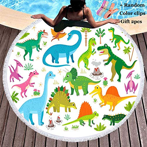 Toalla de Playa Redonda, Morbuy Dinosaurio Zoológico Microfibra Tassel Beach Towel Blanket Mujer Hombre Niño La Playa Tapiz de Pared Manta (150x150cm,Dinosaurio 3)