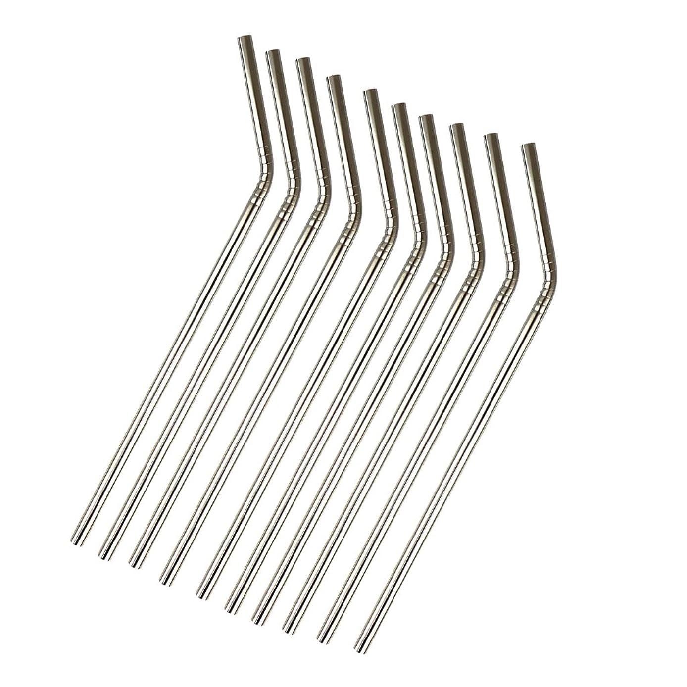 認める暴徒ヒロインHomyl 10個入り 飲料ストロー 大人気 高級感 金属ステンレス鋼ストロー製 ユニークデザイン 曲がり 金属味なし 21.5cm 高品質