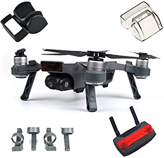 Fstop Labs Accessories Bundle Set for DJI Spark Combo Lens Cap Hood Sun Shade Camera Cover Protector Landing Gear Guard Protective Bubble Remote Controller Clip Accessory (4 Pack)