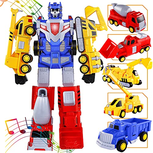 SNAEN Toys for 3 4 5 6 7 Year Old Boys - Construction Vehicles Transform Robot Kids Toys, STEM Building Toddler Toys for Kids Ages 4-8 w/ Pull-Back Toys, 5-in-1 Trucks Gifts for Boys Girls