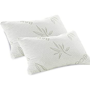 TWO Luxury Bamboo Memory Foam Pillow Natural Woven Fibres Queen Size 65x45cm