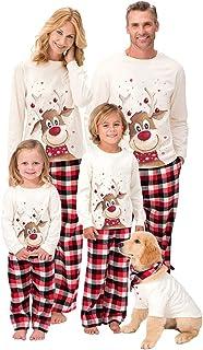Pijamas de Navidad Familia Conjunto Pantalon y Top Pijamas Mujer Hombre Invierno Manga Larga Pijama 2 Piezas Ropa de Dormi...
