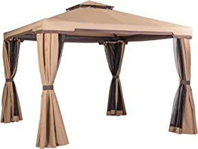 SUNCROWN Outdoor Patio Garden Gazebo 10 x 10 FT All-Season Permanent Gazebo with Vented Soft Canopy, Double Square Tops an...