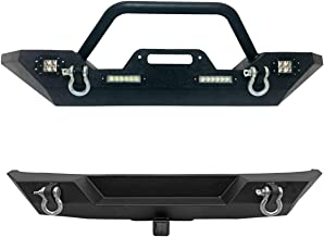 TRIL GEAR Front & Rear Bumper Compatible with 2007-2018 Jeep Wrangler JK Off Road Winch Plate/4X LED Accent Lights/D Rings
