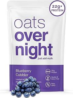 Oats Overnight - Blueberry Cobbler (8 Pack) Dairy Free, High Protein, Low Sugar Breakfast - Gluten Free, High Fiber, Non G...