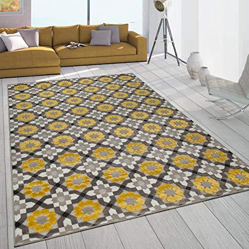 Paco Home In- & Outdoor-Teppich Mit Retro-Design Balkon Terrasse 3D-Web-Art In Gelb Beige, Grösse:80x150 cm