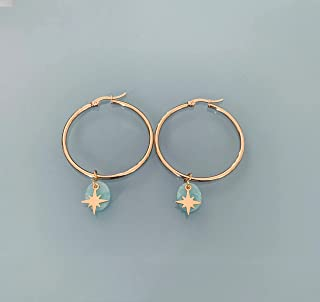 Cerchi della stella del nord, orecchini a cerchio della stella del nord d'oro e amazzonite, gioielli per le donne, cerchi ...