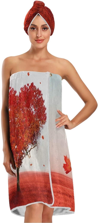 Calmd Romantic Love Albuquerque Mall Heart Tree Ranking TOP6 Women Bath Spa Dr with Towel Wrap