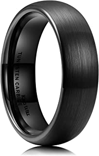 King Will Mens 2mm/4mm/6mm/8mm Black Matte Finish Tungsten Carbide Ring Domed Engagement Wedding Band Comfort Fit
