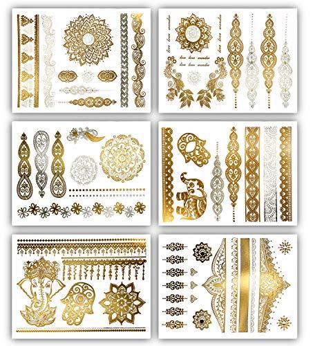 Terra Tattoos Metallic Gold Henna Temporary Tattoos 75+ Mandala Tattoos Flowers, Mandalas, Elephants Waterproof Nontoxic Long Lasting for Beach, Festivals, & Parties