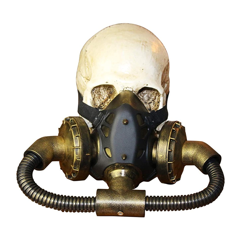 示す科学者ノウ建材貿易 バイオハザードSteampunkガスマスクゴーグルスパイクスケルトンウォリアーデスマスク仮装コスプレハロウィンコスチューム小道具 (色 : Bronze)