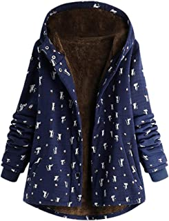 Womens Cat Printed Hooded Jacket Winter Warm Outwear Ladies Retro Oversize Hasp Coats