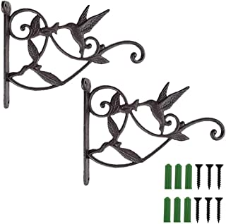 Hanging Plant Hook Bracket Wrought Iron Metal Hummingbird Hanger Holder for Flower Basket Planter Bird Feeder Windchimes Wood Fence Posts Black 2packs