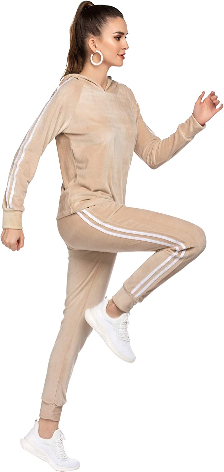 Hotouch Tracksuit Sets Womens 2 Piece Sweatsuits Velour Pullover Hoodie /& Sweatpants Jogging Suits Outfits