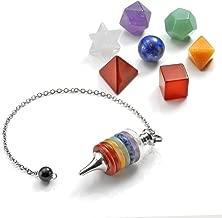 CrystalTears 7 Chakra Healing Crystals Kit - Platonic Solids Crystal Set with Chakra Stacked Layered Dowsing Divination Pendulum