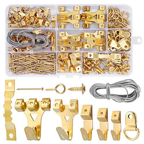 Crochet Pour Cadre Photo, DazSpirit 250 Pièces Kit de suspension de tableaux, avec Vis, Clous, Anneau en D et œil à Vis, cintres en Dent de Scie, câble d'acier, Crochets pour Cadre Photo