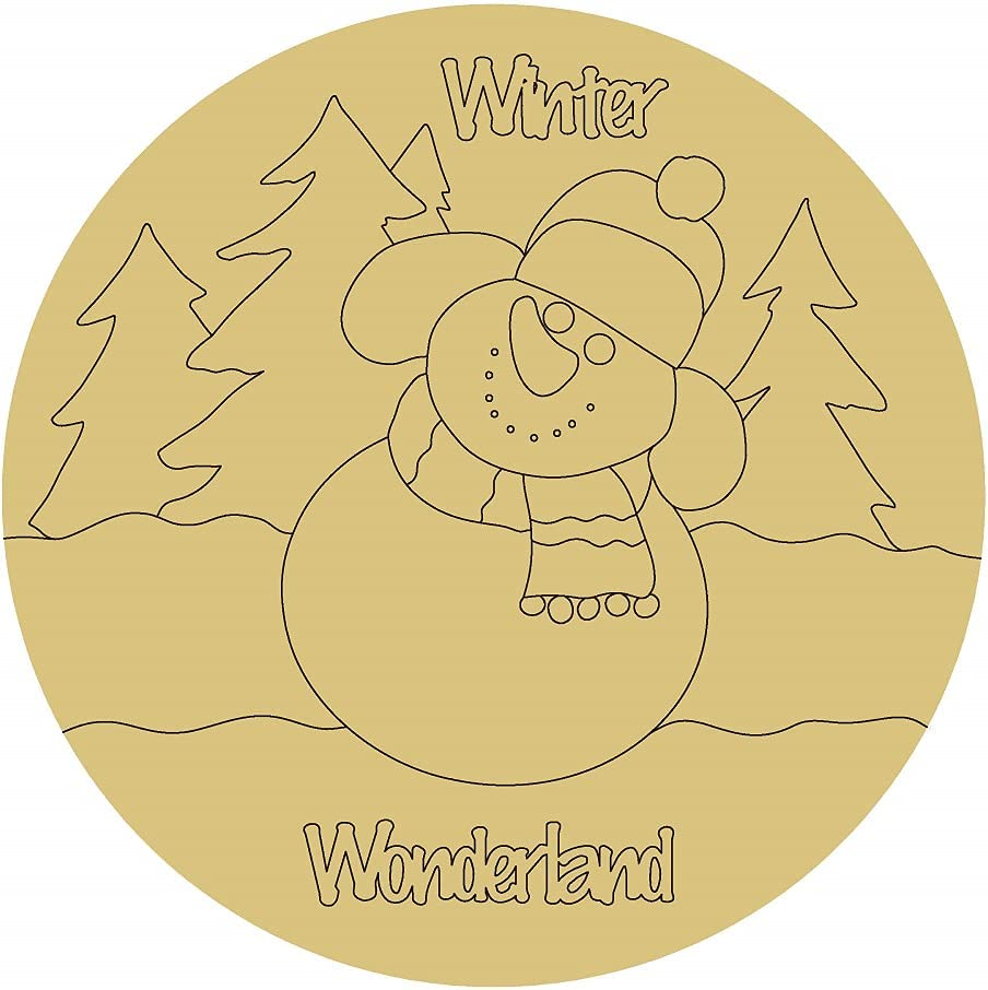 Snowman Design by Lines Cutout Large discharge sale Coloring Winter B Limited Special Price Unfinished Wood