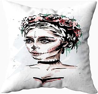 Ducan Lincoln Pillow Case 2PC 18X18,Fundas De Almohada,Fundas De Almohada Dibujadas Hermosa Mujer Joven con Maquillaje De Santa Muerte Elegante Aspecto De Halloween Funda De Almohada Suave