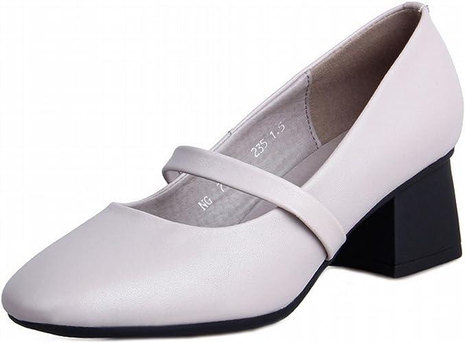YTTY Talons Hauts Nu Couleur Couleur Bouche Peu Profonde Chaussures Simples Chaussures Tête voiturerée Chaussure Mode Talons épais Blanc 35