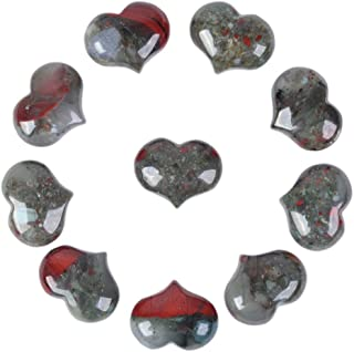Justinstones Natural African Bloodstone Gemstone Healing Crystal 1 inch Mini Puffy Heart Pocket Stone Iron Gift Box (Pack of 10)