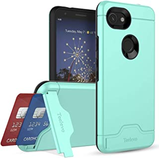 Teelevo Wallet Case for Google Pixel 3a, Dual-Layer Case with Hidden Card Storage and Integrated Kickstand for Google Pixel 3a (2019), Mint Green
