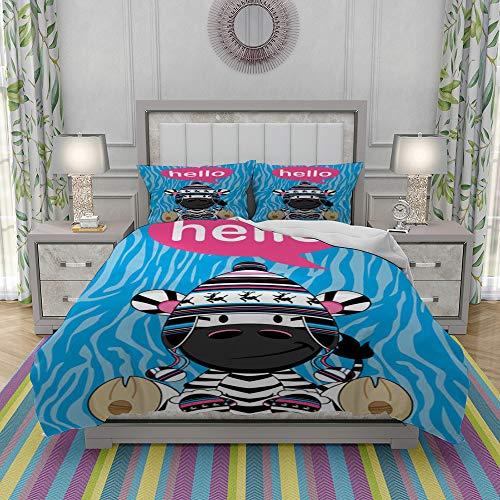 JOLIEAN Duvet Cover Set-Bedding,Hello Bobble Hat Zebra,Quilt Cover Bedlinen-Microfibre 140x200cm with 2 Pillowcase 50x80cm