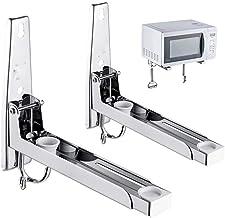 ZHIRCEKE Soporte de Soporte de Horno de microondas con 2 Ganchos para estantería de Acero Inoxidable Soporte Plegable para Horno de microondas, Plata