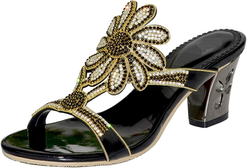 YooPrettyz Women Sun Flowers Oklahoma City Mall Dress Summer Selling and selling Sandals On Slip Beaded