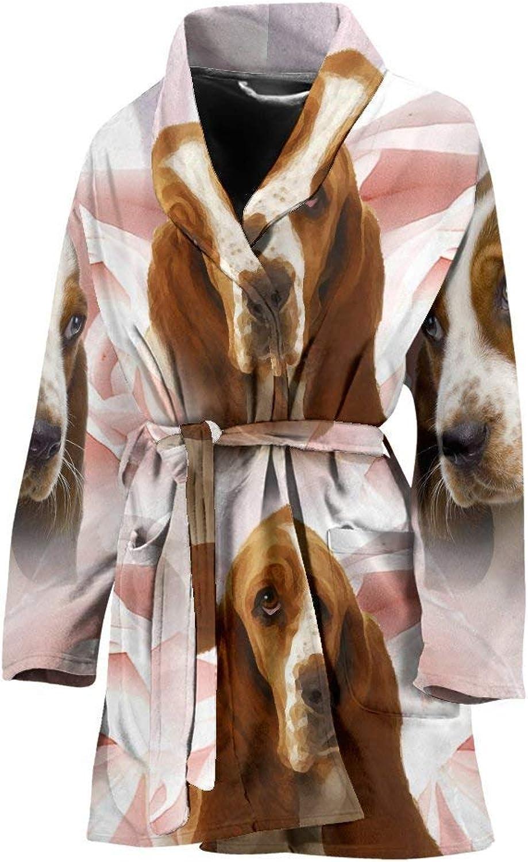 Basset Hound On White Print Women's Bath Robe
