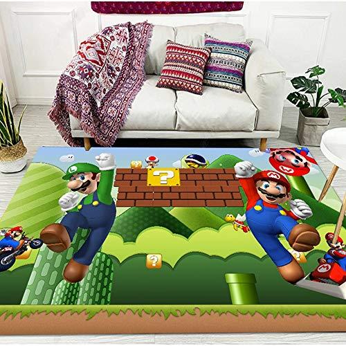 Cartoon Große 3D Teppichkinder Kinder Schlafzimmer Bereich Teppiche Super Mario Muster Gedruckt Weiche Anti-Rutsch Rutsche Matte for Wohnzimmer Dekoration (Color : 2, Size : 80 * 120cm)
